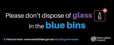 Glass in blue bin
