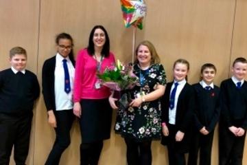 PUSCPS headteacher, principal teacher and pupils