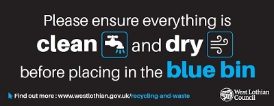 clean and dry blue bin banner