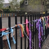 Colourful ribbons on the fence at Balbardie Primary