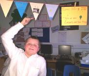 ICHS bunting + student