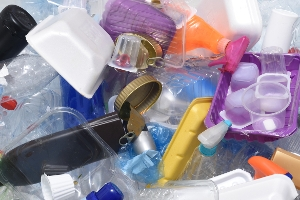 Plastic bottles, trays and tops