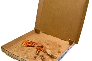 Heavily Contaminated Food Packaging e.g. greasy pizza box