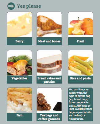 What Can Go In Your Food Caddy Displays a larger version of this image in a new browser window