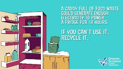 Food Caddy Waste to Power Fridge - ZWS Campaign 2019 Displays a larger version of this image in a new browser window